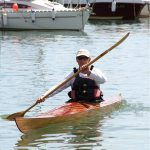 Launch Day - Class of August 2016 Student Duncan Riddle paddles off with his Sea Kayak