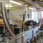16' Smakke Jolle oak keel hog and stems are attached to the strongback ready for the molds and planking