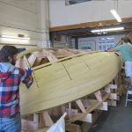 The yellow cedar strip planking starting on the 20' Paul Gartside Outboard Launch