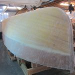 The sheathed 20' Paul Gartside Outboard Launch ready for fairing