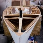 11' Moth Dinghy hull sheathed and interior fitting out underway