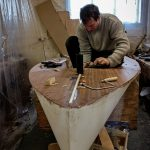 11' Moth Dinghy tiger elite plywood deck with comissioner and student Jake