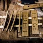 16' Smakke Jolle name plates, hand carved and oiled