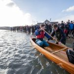 Class of February 2016 - Cedar strip Canadian Canoe getting launched into Lyme Regis Harbour for the first time