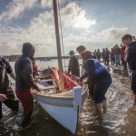 Class of February 2016 - Christmas Wherry sat floating in the harbour as the students climb aboard