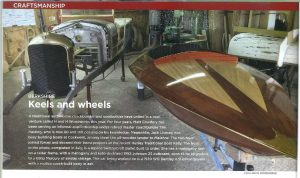 Keels and Wheels article featuring a glossy deck of a boat and the front of a vintage vehicle
